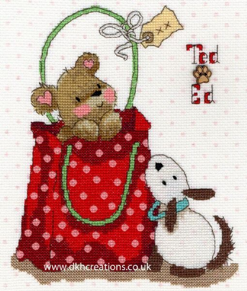 Ted & Ed In The Bag Margaret Sherry Cross Stitch Kit